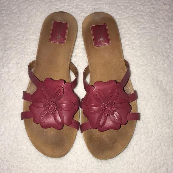 ec00196826a127 Clarks Artisan Pink Flower Sandals Size 8.5